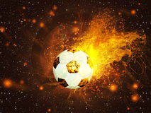 在火的足球 库存例证