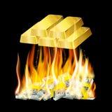 在火的金钱 免版税库存照片