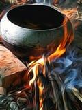在火的食物 库存照片
