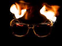 在火的玻璃 免版税库存图片