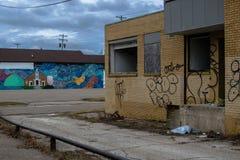 在火石密执安的街道画大厦 图库摄影