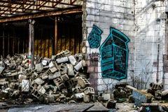 在火石密执安的被放弃的街道画大厦 免版税图库摄影