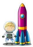 在火箭旁边的一位宇航员 库存照片