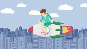 在火箭的愉快的女实业家飞行通过大厦 交易起步、飞跃和企业精神概念 圈动画s 皇族释放例证
