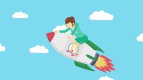 在火箭的愉快的女实业家飞行通过天空蔚蓝 交易起步、飞跃和企业精神概念 圈动画样式 库存例证