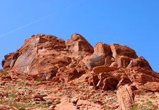 在火谷的红色岩石  免版税库存图片