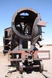 在火车公墓,玻利维亚的生锈的老火车 库存图片