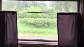 在火车后窗口的看法  火车在高速的奔跑乘驾由铁路 股票视频