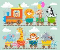 在火车的滑稽的动物 皇族释放例证