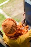 在火车的Sadhu 免版税库存照片