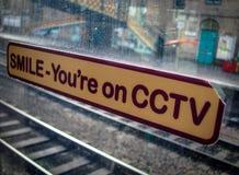 在火车窗口的CCTV标志 免版税库存照片