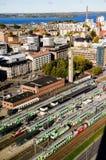 在火车站的一个看法从坦佩雷,芬兰 免版税库存图片