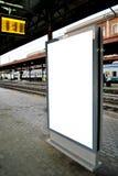 在火车站的广告牌显示 图库摄影