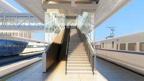 在火车站的白色现代高速火车在日落Railw 向量例证