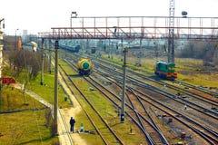 在火车站附近的基础设施在Khmelnytsky,乌克兰 库存图片