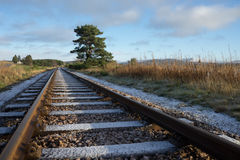 在火车轨道的冬天与山和树 库存图片