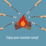 在火野营的烧烤蛋白软糖 图库摄影