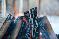 在火,壁炉的木头 免版税图库摄影