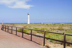在灯塔和大西洋海岸的看法  库存图片