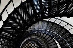 在灯塔螺旋形楼梯里面 图库摄影