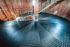 在灯塔里面的一部螺旋形楼梯 图库摄影