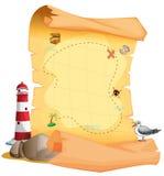 在灯塔附近的一张珍宝地图 向量例证