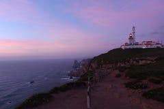 在灯塔da Roca的黄昏, 免版税库存照片