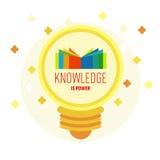 在灯的书商标有文本的:知识是力量 免版税库存照片