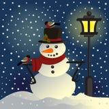 在灯笼下的雪人 皇族释放例证