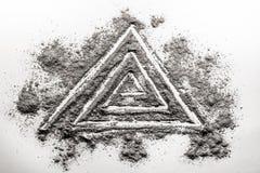 在灰做的三角螺旋形状图画 库存照片
