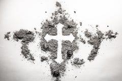 在灰做的基督徒发怒图画剪影,尘土,土  免版税库存图片