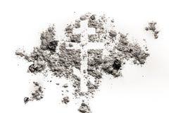 在灰做的正统基督徒宗教十字架或耶稣受难象标志 免版税图库摄影