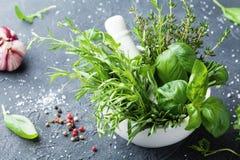 在灰浆碗和香料的新鲜的绿色庭院草本在黑石桌上 麝香草、迷迭香、蓬蒿和龙篙烹调的 免版税库存照片
