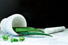 在灰浆碗-皮肤和护发的非常有用的草药的芦荟维拉,在一大理石worktop 免版税库存图片