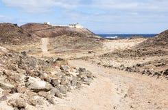 在灰狼小海岛上的蓬塔马蒂诺灯塔  免版税图库摄影