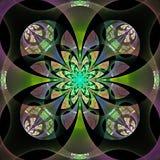 在灰色、绿色和紫色的美丽的抽象花。 免版税库存图片