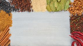 在灰色具体背景的芳香印地安香料与在中心的拷贝空间 多种草本香料 库存图片
