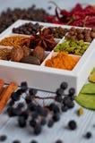 在灰色厨房用桌上的香料:八角,芬芳胡椒,桂香,肉豆蔻,海湾离开,辣椒粉接近  香料纹理 图库摄影