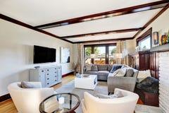 在灰色和棕色口气的美国豪华客厅内部 免版税图库摄影