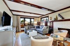 在灰色和棕色口气的美国豪华客厅内部 免版税库存照片