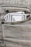 在灰色斜纹布口袋的美元 免版税库存图片