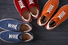 在灰色木板条的五颜六色的偶然男女皆宜的绒面革运动鞋 库存照片