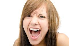 在灰色梯度的白种人女性纵向 免版税库存照片
