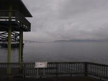 在灰色水的云彩 库存图片