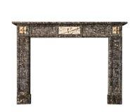在灰色白色大理石古董维多利亚女王时代isolat的壁炉周围 图库摄影