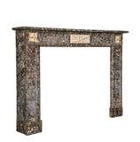 在灰色白色大理石古董维多利亚女王时代isolat的壁炉周围 免版税库存图片