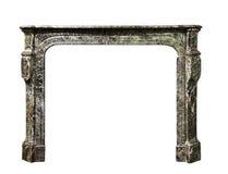 在灰色白色大理石古董维多利亚女王时代isolat的壁炉周围 免版税库存照片