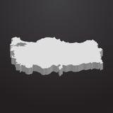 在灰色的土耳其地图在黑背景3d 库存例证