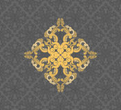 在灰色的金花卉样式 库存例证