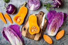 在灰色石桌的季节性冬天秋天秋天菜 植物基于素食主义者或素食烹调概念 干净的吃食物 免版税库存图片
